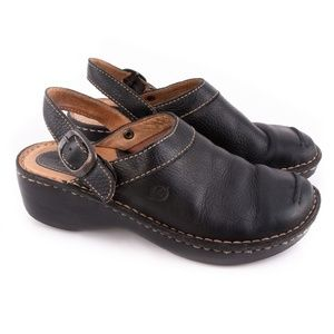 Born Sling Back Leather Mules Clogs - Size 6